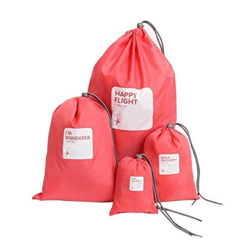 TOOGOO 4pcs/lot Etanche Sacs De Rangement Voyage Chaussures Lingerie Lingerie Pochette De Maquillage Cosmetique sous-Vetements Organisateur Multi-usages Rose Rouge