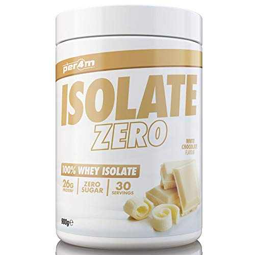 per4m Zero Isolate Whey Protein, White Chocolate, 30 Servings 100% Whey Isolate Muscle Building Protein