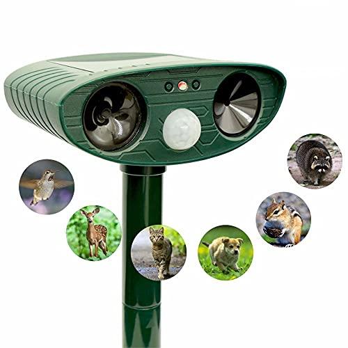 Ultraschallabwehr Tiervertreiber Katzenschreck Tierabwehr mit Solar Bewegungsmelder und Blitz | Wasserdicht für Garten