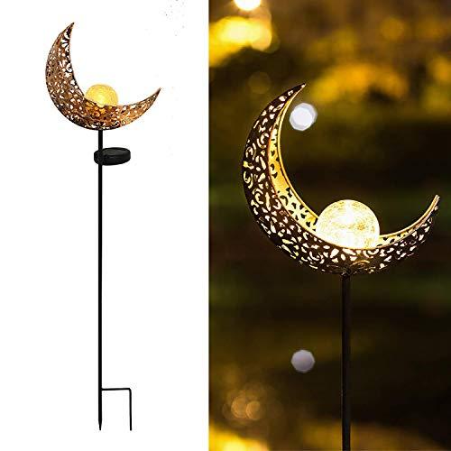 Solar Garden Lights Outdoor Waterproof Metal Lights Solar Stake Lights Moon...