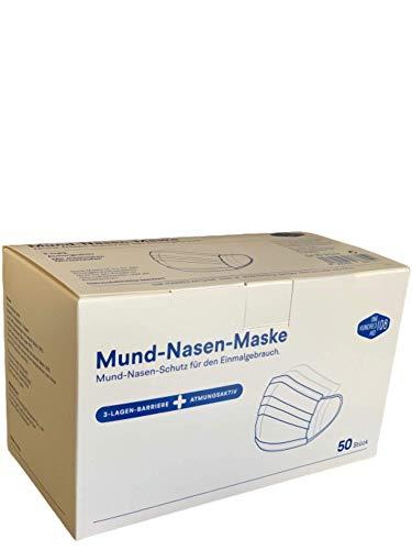 TÜV geprüfte Mundschutz Gesichtsmaske, Mund-Nasen-Schutzmaske, 50 Stück | Atemschutzmaske für den Einmalgebrauch, 3-lagig, (5 x 10 Stück)