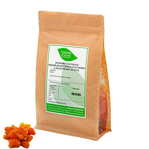NATURA D'ORIENTE - Zenzero ginger disidratato senza zucchero a pezzi - 1 Kg - Prima Qualità, senza anidride solforosa e conservanti. PRIMA SCELTA | GUSTOSO E MORBIDO |