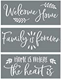 Home Sweet Home, Grateful, Welcome Stencil Set - Word Stencils for Painting on Wood + More – Set...