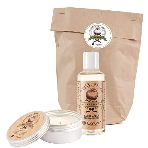Juego Deluxe de aceite de masaje y vela con aroma a manzana asada, pack para invierno en papel kraft para masajes eróticos, de Venize