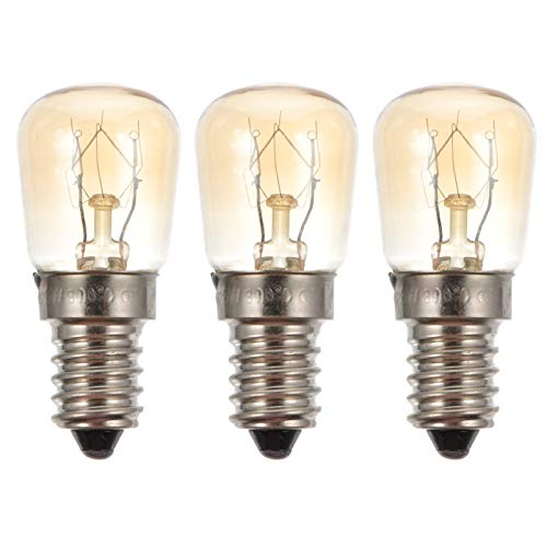 Uonlytech 3 st mikrovågsugn glödlampa 25 W E14 LED ugnslampa volfram glödlampor värmebeständig saltlampa (transparent)