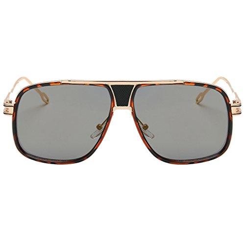 Gazechimp Gafas de Sol De Moda Estilo Antiguo Fiesta de Compras Viajes Mujer Chica Regalo Accesorio Hermosa Cara - Lente de oro del marco del leopardo, Único