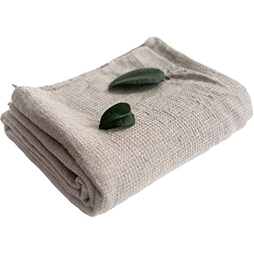 Toalla de baño 100% lino puro – lavado a piedra 30 x 60 pulgadas suave toalla de viaje – tela reticular toalla de playa de secado rápido – toalla fina de lino natural para baño, gimnasio o sauna – toalla de baño sostenible