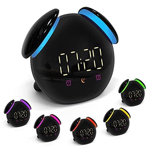 PTN Wake-Up Light Per Bambini, Sveglia Digitale Bambini, con Wake up Light Allarme Sveglia con 7 Colori, Sveglia Iuminosa e Lampada da Comodino, 2 Allarmi, Funzione Snooze, Regali per bambini