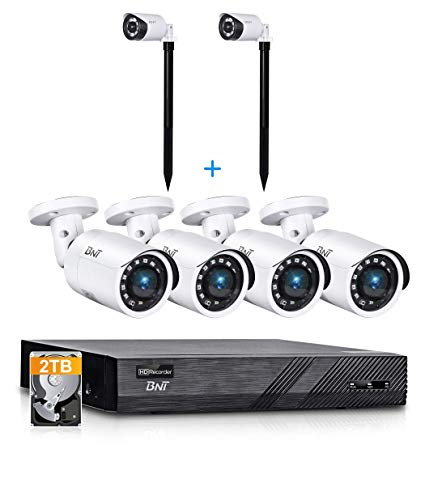 BNT 8CH 5MP PoE Home Security Camera System, 4pcs Wired 5MP PoE Outdoor IP Cameras, 2Pcs Motion Sensor Lights Outdoor, 4K 8-Channel NVR Security System with 2TB HDD for 24/7 Camera Recording