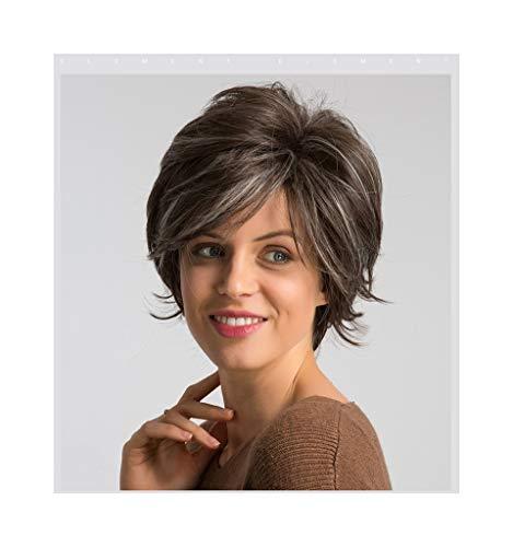 Perruques Femme XXYHYQHJD Perruque Synthétique for Femmes Mixte Couleur Marron Moyenne Casquette Taille Mode Cosplay Party Perruques De Travail 6 Pouces