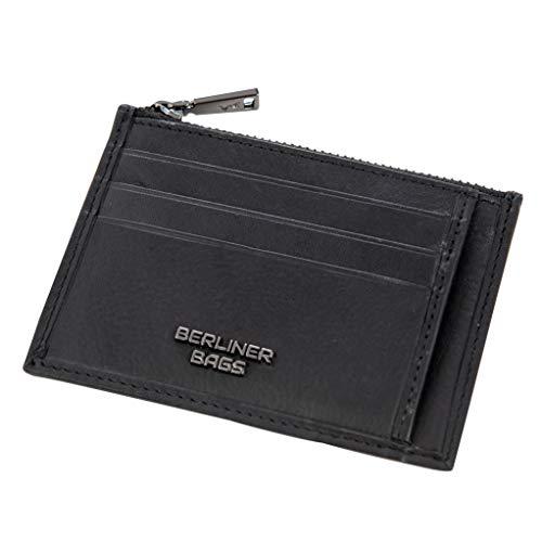 Berliner Bags Premium Geldbeutel Geldbörse aus Leder mit Reißverschluss und Kartenfächer (mit RFID Schutz) für Damen Herren Dünn Slim Schwarz klein