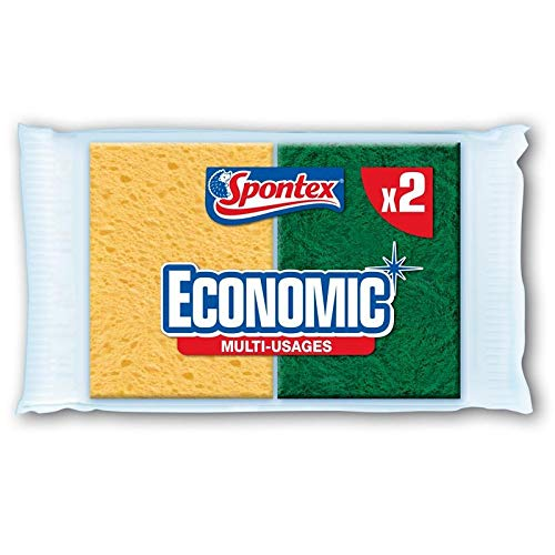 SPONTEX - Éponges Végétales Grattantes Economic' 2 Éponges - Lot De 4