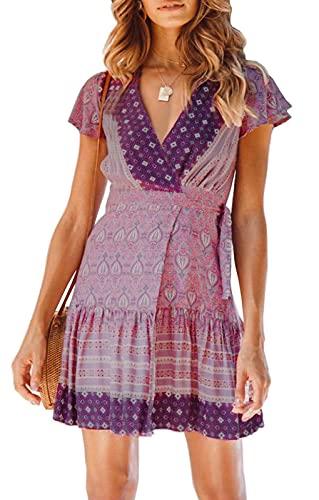ZESICA Women's Summer Wrap V Neck Bohemian Floral Print Ruffle Swing A Line Beach Mini Dress Lavender