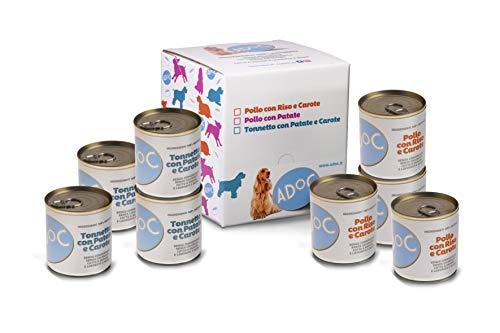 ADOC Cibo Umido per Cani con Ingredienti Naturali al 100% con Pollo e Tonno - Pacco da 8 x 285 g