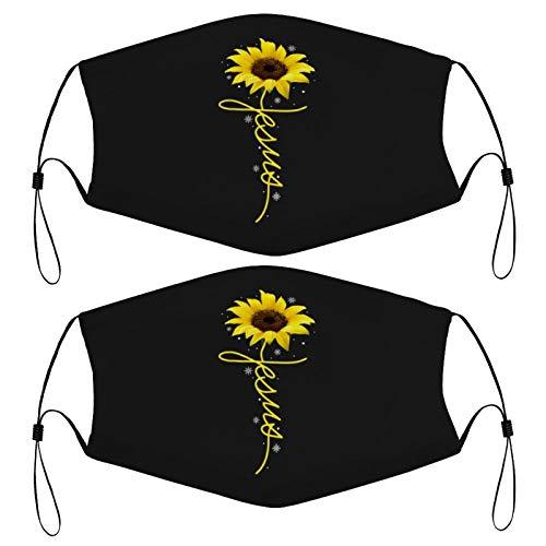 Sunflower Cross Faith Christian Jesus Kids Face Mask Set of 2 with 4 Filters Washable Reusable Adjustable Black Cloth Bandanas Scarf Neck Gaiters for Adult Men Women Fashion Designs