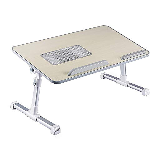4YANG Adjustable Laptop Bed Table,Portable Laptop Desk with Foldable Legs Lap Standing Desk for Bed and Sofa Breakfast Bed Tray Laptop Lap Desk Folding Notebook Stand Reading Holder with Cooling Fan