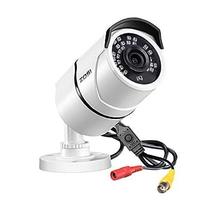 ZOSI 2.0MP HD 1080p 1920TVL Security Camera Outdoor Indoor (Hybrid 4-in-1 HD-CVI/TVI/AHD/960H Analog CVBS),36PCS LEDs,120ft IR Night Vision,105° View Angle Weatherproof Surveillance CCTV Bullet Camera