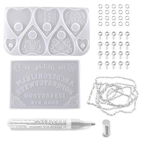 2er Pack Gothic Ouija- Brett- und Planchette-Harzformen Ouija- Brettspiel Silikon-Epoxidharz-Gießformen Kunsthandwerk