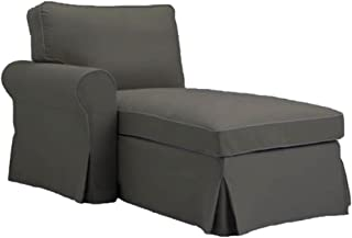 The Gray Ektorp Chaise with ARM Cover Replacement is Custom Made for IKEA Ektorp Chaise Lounge with Arm Sofa Slipcover. (ARM on The Left)