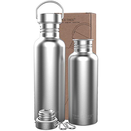 TRIPLE TREE Uninsulated Single Walled Stainless Steel Sports Water Bottle 18/8 for Cyclists, Runners, Hikers, Beach Goers, Picnics, Camping - BPA Free. (26 Ounces) ...