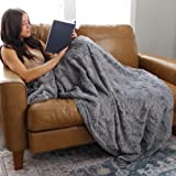 Softest Warm Elegant Cozy Faux Fur Home Throw Blanket by Graced Soft Luxuries (Solid Gray, Large 50' x 60')