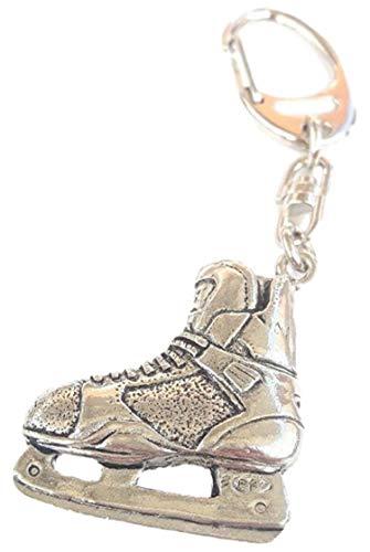 Eishockey Stiefel Handarbeit aus Massivem Zinn in UK Schlüsselanhänger 59mm Button Abzeichen + Geschenkbeutel