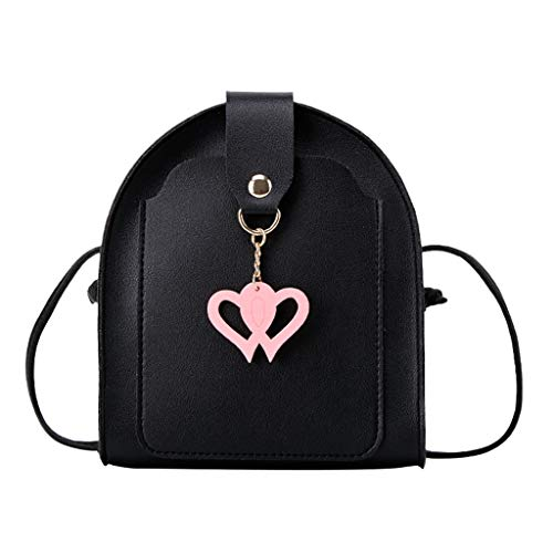 Best Bargain Leaf2you Women's Stitching Leather Heart Pendant Small Square Messenger Bags Single Sho...