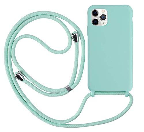 Ququcheng Funda Compatible con iPhone 12 Mini(5,4'),Ajustable Collar Correa de Cuello Cordón Cuerda Carcasa TPU Bumper Silicona Skin Caso para iPhone 12 Mini(5,4')-Verde