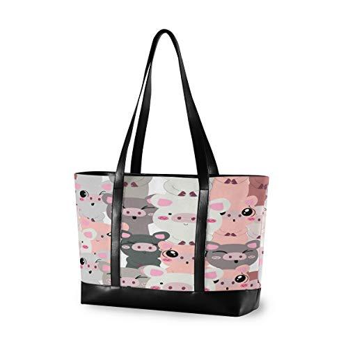 CPYang Laptop-Tasche, 39,6 cm (15,6 Zoll), lustige Tier-Schwein, Leinen, Schultertasche, große Handtasche, Damen, Computer-Tasche für Arbeit, Business, Schule, Reisen