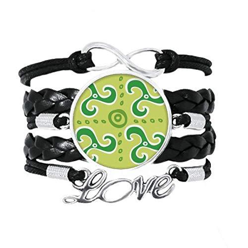 DIYthinker Armband mit grünem Spiralen-Dartpfeil, Mexiko-Totems, antikes Zivilisations-Armband, Liebesaccessoire, gedrehtes Leder, Strickseil, Geschenk