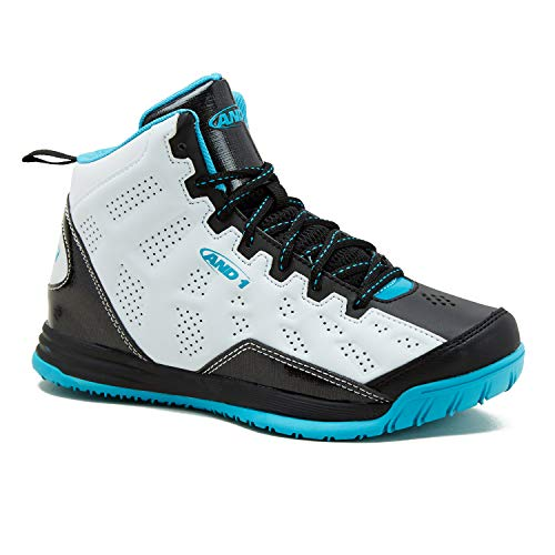 AND1 Kids Show Out Basketball Shoe, 1 M US Little Kid White/Black/Teal