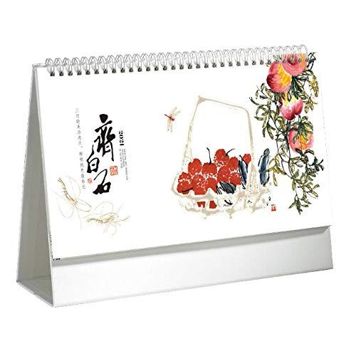 Calendaeio Mesa Chinos Año Nuevo 2021 Mini Calendario 2021 para el Año Lunar del Buey,29x8x19.5cm,Cuadro de Fruta de Pintura China Calendario Planner para Organización Y Planificación, Planificador A
