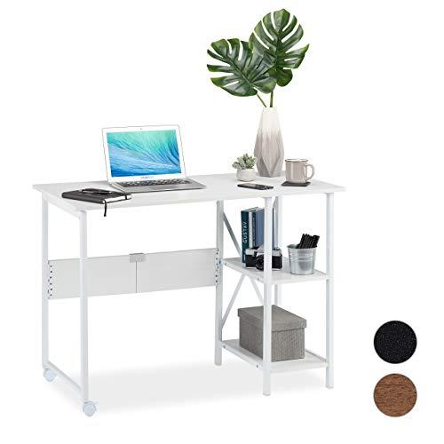 Relaxdays Schreibtisch klappbar, platzsparender Bürotisch, 2 Ablagefächer, Jugend-& Wohnzimmer, 76 x 107 x 55 cm, weiß, PB