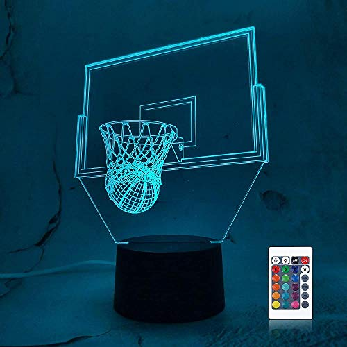 3D Led Luz De Noche Decoración Tabla Lámpara De Escritorio Cesta 7 Colores Cambio De Botón Táctil Y Cable Usb Navidad Cumpleaños Regalo
