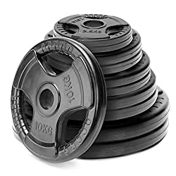 Solid And Extremely Durable: The Unique Tri-grip rubber cast iron plate are design with steal inserts makes loading safer & easier. Designed for: Indoor and Outdoor gym workouts if you are looking for strength and challenging exercises; can be used o...
