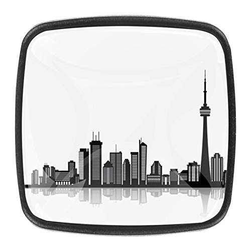Canadian Toronto Black WhiteCrystal Glass for Kitchen, Bathroom Cabinet, Dressing Table and Cupboard 4-Piece Package
