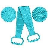 CAVEEN Cepillo Corporal de Silicona, Depurador de Espalda Suave con Partículas de Masaje, Doble Cara de Exfoliar la Piel y Masajear, Cepillo de Ducha para Hombres y Mujeres (Azul)
