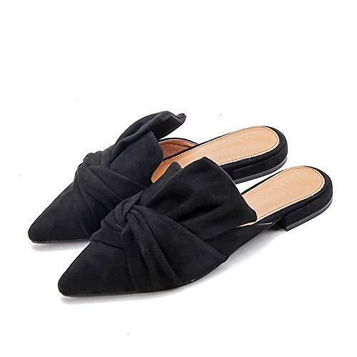 N/A Zapatillas de Mujer, Zapatillas Planas Puntiagudas de otoño, Zapatillas sin tacón para Mujer, Chanclas Personalizadas-Black_41