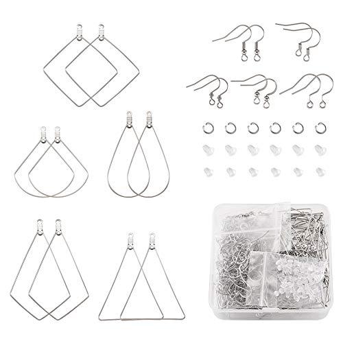 Cheriswelry 80 pièces Kit de résultats de boucles d'oreilles avec perles, crochets de boucles d'oreilles, anneaux de saut, dos de boucles d'oreilles pour la fabrication de boucles d'oreilles