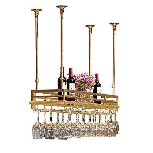 LWZ Soportes para Copas de Vino Colgantes, botellero de Techo, Estante de Vidrio para Copas de Botellas de Vino para Cocina, Bar o hogar
