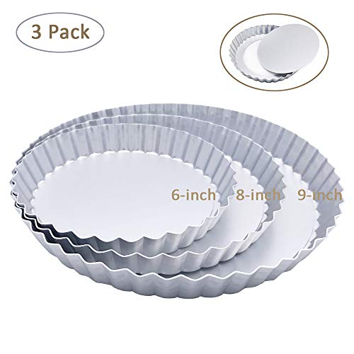 3 Pack(6, 8, 9 Inch) Tart Pan and Quiche Pan with Removable Base...