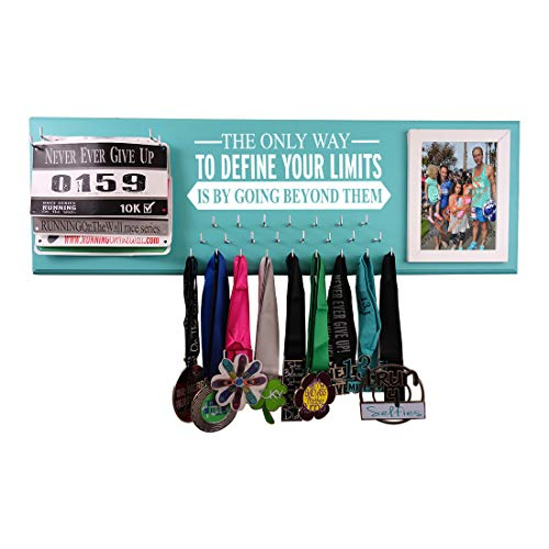 RunningontheWall Medal Hanger Medal Display Rack and Race Bibs The ONLY Way to Define Your Limits is by Going Beyond Them Running Medal Holder with Picture Frame Design