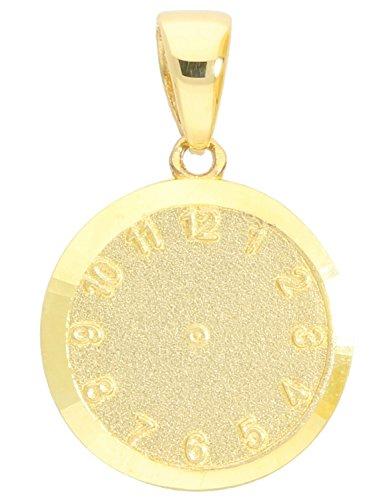 MyGold Geburtsuhr Geburtsstunde Anhänger (Ohne Kette) Gelbgold 375 Gold (9 Karat) Massiv 1,3gr Stabil 19mm x 12mm Uhr Gravur Zur Taufe Overnight A-00986-G603