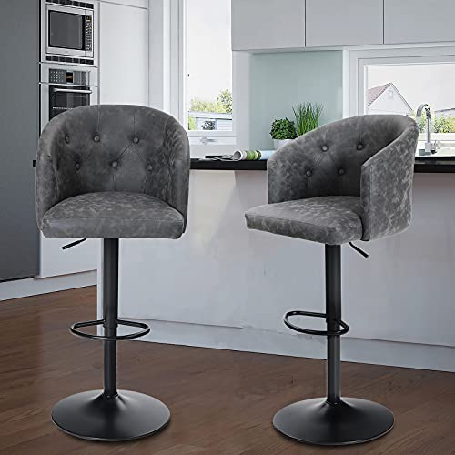 Maison Swivel Bar Stools Set of 2 with Back for Kitchen Counter Height Adjustable Counter Height Barstools Chairs with Ergonomic Mid-Back for Kitchen Island, 300LBS Weight Capacity, Grey, Mid Back