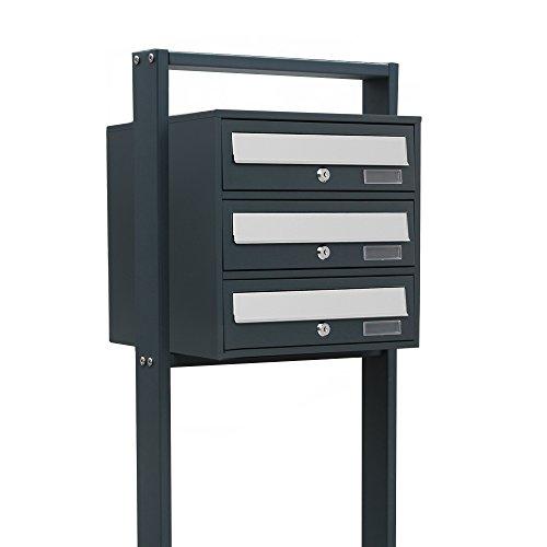 BITUXX® Design Stand-Briefkastenanlage Postkasten Letterbox Mailbox Edelstahl Briefklappe mit 3 Fächer Dunkelgrau