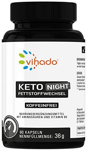 Vihado Keto Night für die Nacht, Ohne Koffein, Fettstoffwechsel Kapseln mit L-Carnitin, L-Tryptophan, Cholin, Vitamin B6, 60 Kapseln