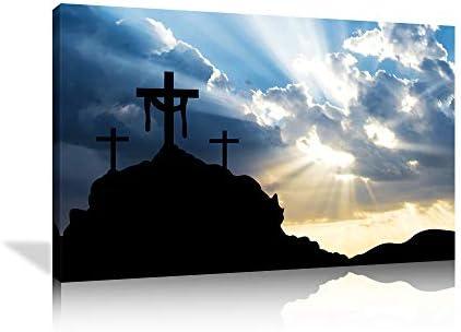 KALAWA Large Christian Artwork Canvas Print Wall Art Sunset Through Christian Cross Picture product image