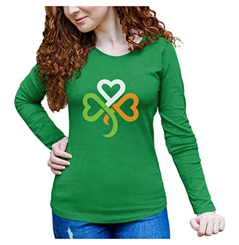 Camiseta feminina de manga comprida Dia de São Patrício verde trevo coração irlandês, Verde, S