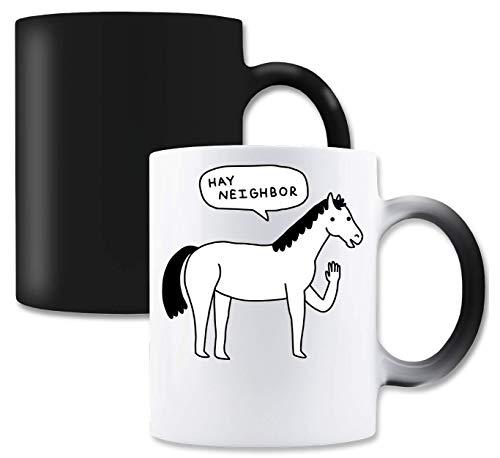 LukeTee Hay Neighbor Horse Magische thee-koffiemok