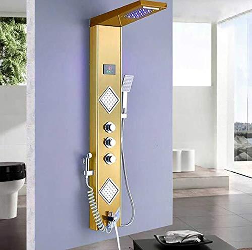 Luz de luz Dorada de Ducha LED Pantalla de Temperatura Digital Panel de Ducha SPA Masaje Jet Ducha Columna Torre con Boquilla pulverizadora,B